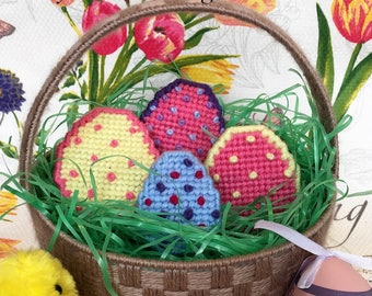 Plastic Canvas Book Easter Basket and Eggs Digital Pattern easy download Gift for Kids