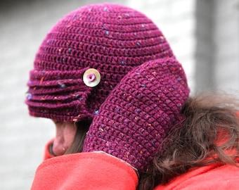 Myceria - a crochet hat and matching mittens pattern