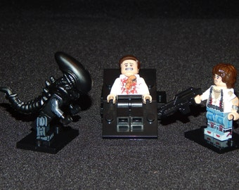 Alien Set Of 3 Custom Minifigs Ripley Chest Burtser Xenomorph Aliens Building Block Toy