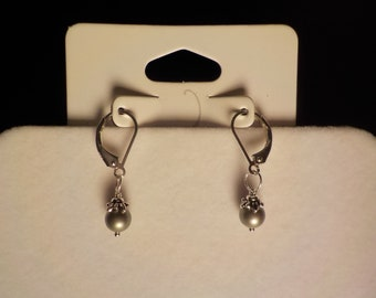 Silver Glass Pearl Earrings, Small