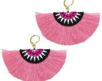 MANILAI Bohemian Embroidery Fringe Earrings
