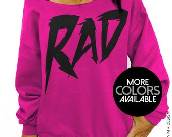 Rad Sweatshirt, Women's Clothing, Off the Shoulder, Oversized, Slouchy Sweatshirt, Womens sweater, 80's Clothing, Retro Top, Cool Sweatshirt