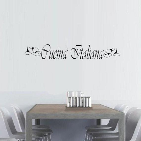 vinyl wall decal quote Cucina Italiana with flourish kitchen