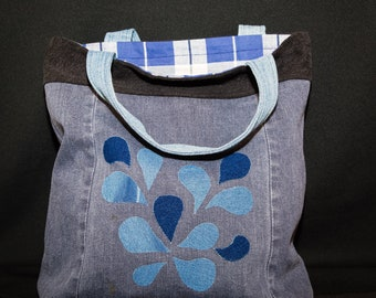 up-cycled denim tote bag, eco friendly, reversible