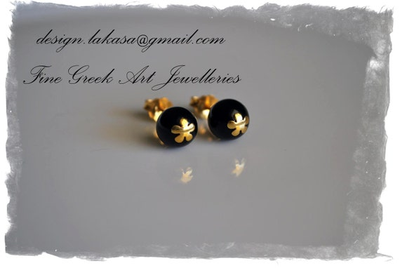 Flower Black Pearls Stud Earrings Sterling Silver Gold plated Jewelry Gifts for her Woman Moda Gilrfriend My Sweet Girl Floral Design Beauty