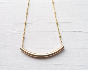 Gold Filled Tube Necklace Sleek Layering Jewelry for Everyday Gift for Friend