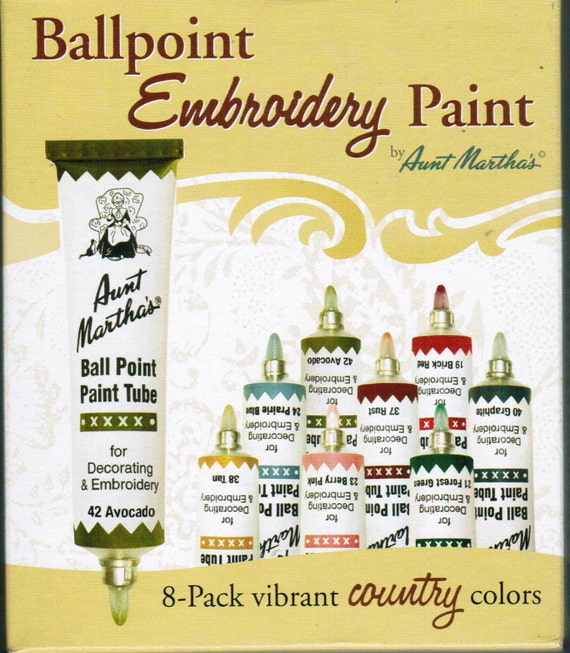 Aunt Martha Ballpoint Country Colors Embroidery Paint 8 pack
