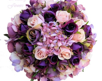 Hydrangea & Rose Bridal Bouquet - Purple, Mauve, Pink -  Keepsake Wedding Bouquet for Bride