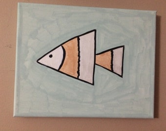 Fish original painting 8 x 10.  Great in any room.