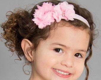 Pink Headband- Newborn Headband- Baby Headband-Flower Headband - Infant Headband- Christening Headband- Wedding Accessory-Pageant Headband