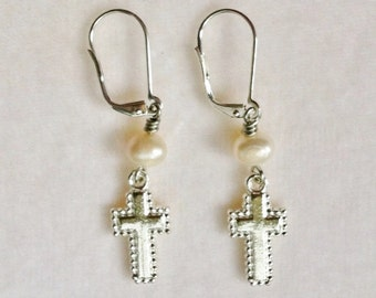 Silver Cross Earrings with White Freshwater Pearls