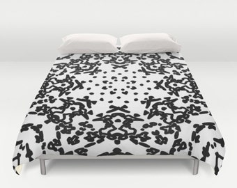 Mandala Duvet Cover - Black and White Duvet Cover - Queen Size Duvet Cover - King Size Duvet Cover - Full Size Duvet Cover