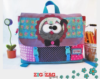 """""""Schoolbag kindergarten size A4 (37 x 25 x 11cm)""""Uncle cat""""Turquoise & purple"""""""