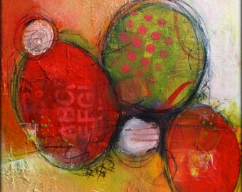 16 x 20 Abstract Modern Art Print Stunning colors We Go Round and Round by Jodi Ohl