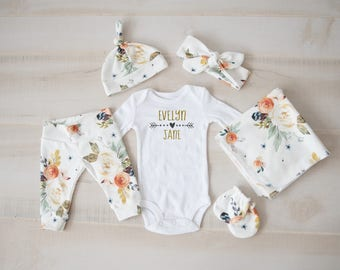 Baby Girl Coming Home Outfit, baby shower: Earth Tone Watercolor Floral Pants, Tie Headband, Knot Hat, Personalized Bodysuit, Swaddle, Mitts