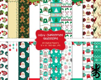Ugly Christmas Sweaters-Commercial Use-Digital Papers-Holiday-Tacky Sweater-Santa-Snowman-JPG-Digital Scrapbook-Instant Download
