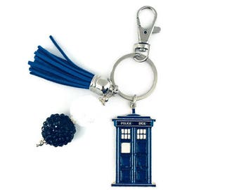 Police Box Key Chain/Sci-Fi Key Chain/Phone Booth Key Chain/Time and Space Travel