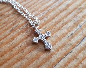 Silver Byzantine Cross and zirconium