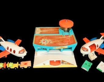 Vintage Fisher Price Airport, 2 Airplanes & more - 1970s, 1972, #996, #183 - little people, retro, toy, kids, children, air traffic control