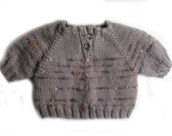 Little baby sweater knitted hand, Grey Heather