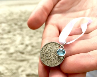 British Lucky Sixpence - Wedding Bouquet Charm - Something Blue - Wedding - Lucky Coin