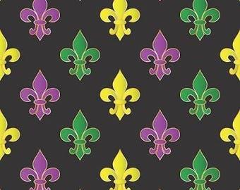 Mardi Gras Fleur de Lis on Black Cotton Fabric