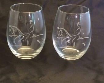 Horse Wine Glass! 2 dressage horse design regular or stemless wine glasses!