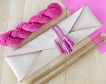 Personalised Leather Knitting Needle Organizer - Wallet With Bamboo Needles,Knitting Needle case,Knitting Needle Organiser,Personalised Gift