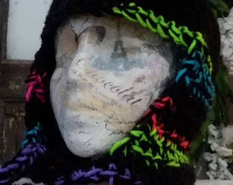 Black and Multicolor Scarf Hat