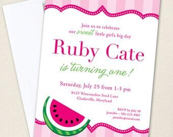 Watermelon Party Invitations - Watermelon Birthday Invitations - Professionally printed *or* DIY printable