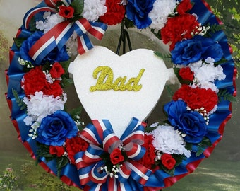 Patriotic Cemetery Wreath, Dad, Gravesite, Memorial Day, Funeral, Funeral Wreath, Cemetery Flowers, 4th of July, Fourth, Americana