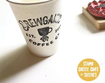 To go cup stamp, custom stamp, packaging stamp, custom logo stamp, logo stamp, business logo stamp, personal stamp, coffee cup sleeve stamp