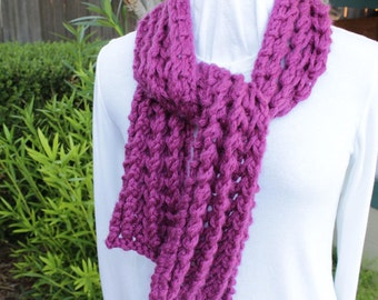 Purple Scarves, Chunky Magenta Hand Knit Scarf, Wool Scarf, Winter Accessory for Women, Bulky Weight Knitted Wool Scarf, Gift for Her