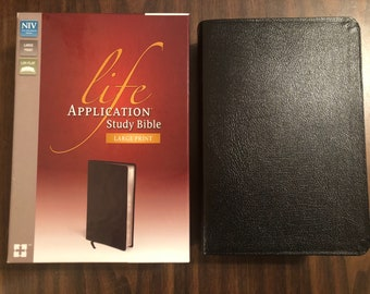 PERSONALIZED ** NIV Large Print Life Application Study Bible - Black Bonded Leather ** Custom Imprinted