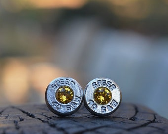 Bullet Earrings stud or post, nickel silver Speer .40 S&W with Swarovski Citrine November birthstones