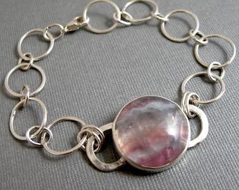 Fluorite Bracelet in Sterling Silver - Hand Fabricated Link Pink Gemstone Bezel Set