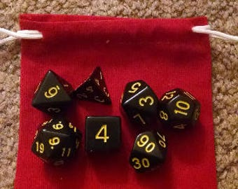 Yellow on Black - 7 Die Polyhedral Set with Pouch