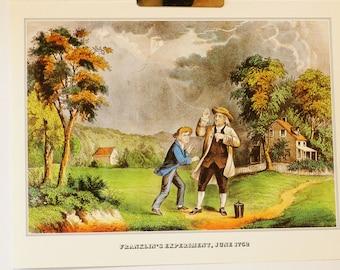 1978 Currier & Ives - Franklin's Experiment, June 1752 - original vintage book print - Framable