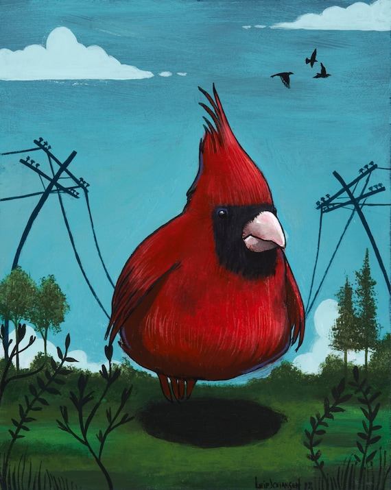 Bird on a Wire. fat bird cardinal birds telephone wires