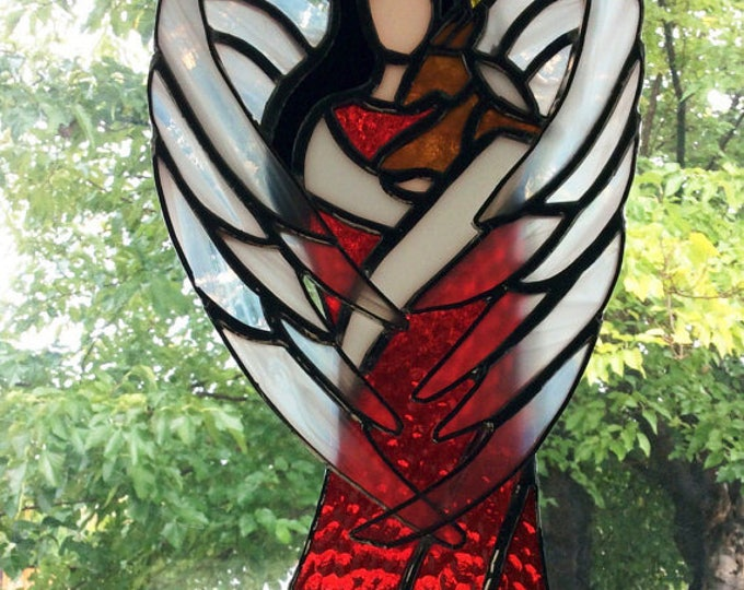 Stained Glass Angel, Tiffany Style, Angel Wall Decor, Christmas decoration, Angel Decor, Spiritual Art, Guardian Angels, Window Art, Gifts