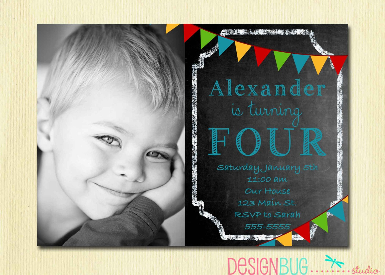 Great 4 year old birthday invitations ideas invitation card boys chalkboard birthday invitation 1 2 3 4 5100 year stopboris Images