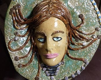 Medusa Stoneware Wall Hanging Platter