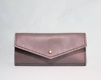Long Wallet/ Woman's Leather Wallet / Pebbled Blue Leather Wallet / Clutch
