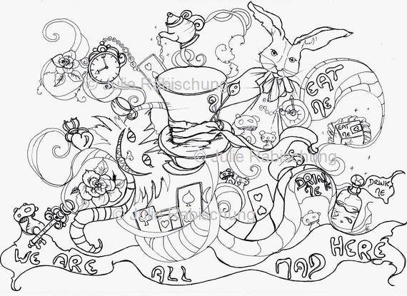 Wonderland coloring page colouring page coloringbook adult coloring cards roses hat alice in wonderland fantasy digital stamp woman girl from