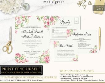 Vintage Flowers Wedding Invitation, Floral Wedding Invite Template