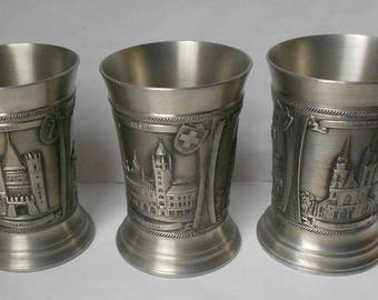 3 Vintage SWISS Pewter Beer Cups/Stein/Drinking glasses.