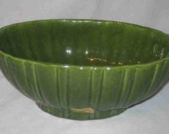 "9 1/2"" X 3 3/4"" Mid Century Green HAEGER Pottery Vase Planter"