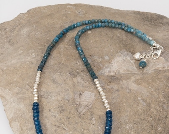 Blue Apatite and Sterling Silver Necklace