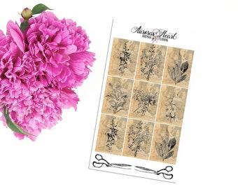 Vintage floral stamps planner stickers