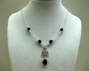 Black Crystal Chandelier Necklace - FREE SHIPPING